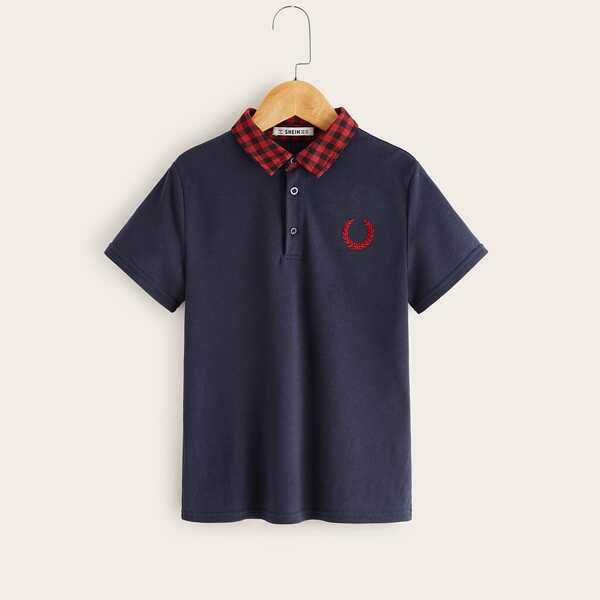 Boys Gingham Contrast Collar Embroidery Detail Polo Shirt, Navy blue