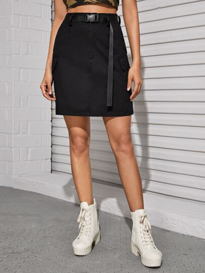 Buckle Belted Solid Utility Skirt