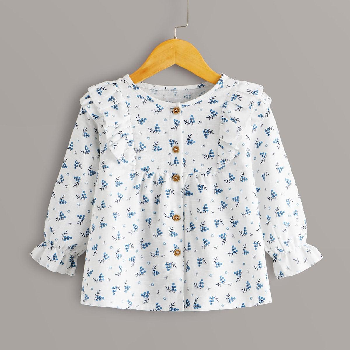 Блуза с пуговицами, оборками и принтом растения для девочек