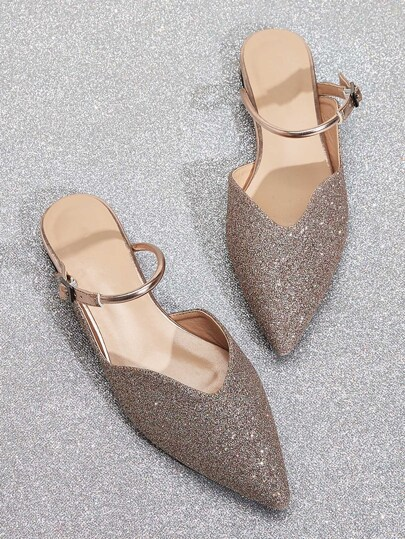 Glitter Point Toe Buckle Strap Flats