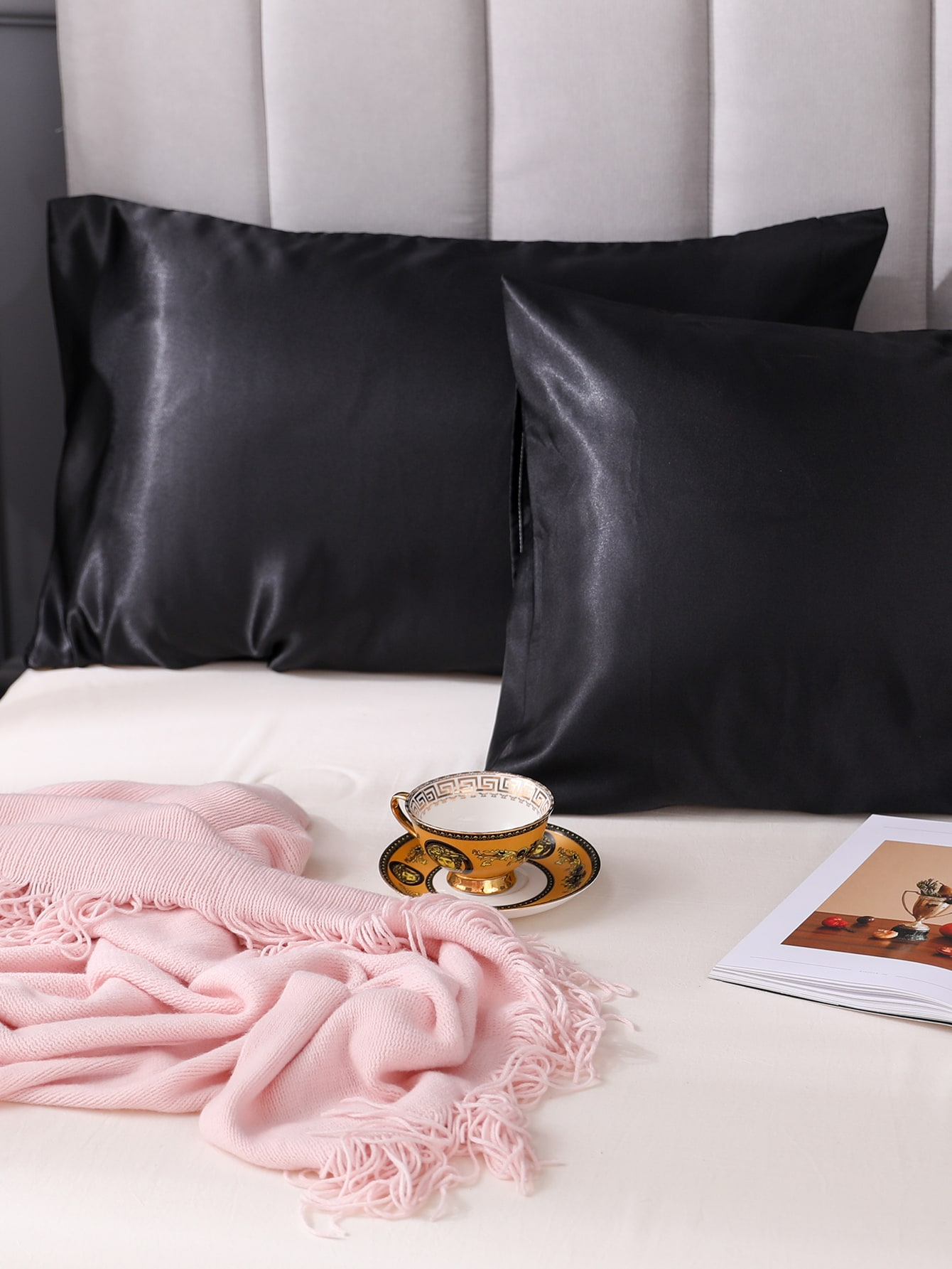 1Pair Plain Satin Pillowcase