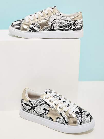 Lace-up Front Snakeskin Sneakers