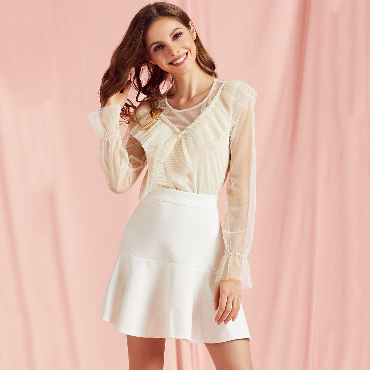 Pleated Ruffle Trim Lining Front Mesh Top