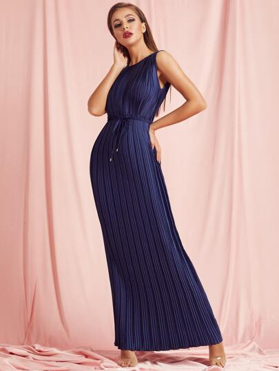 SBetro Self Belted Pleated Satin Maxi Dress
