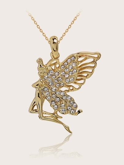 1pc Rhinestone Engraved Butterfly Charm Necklace