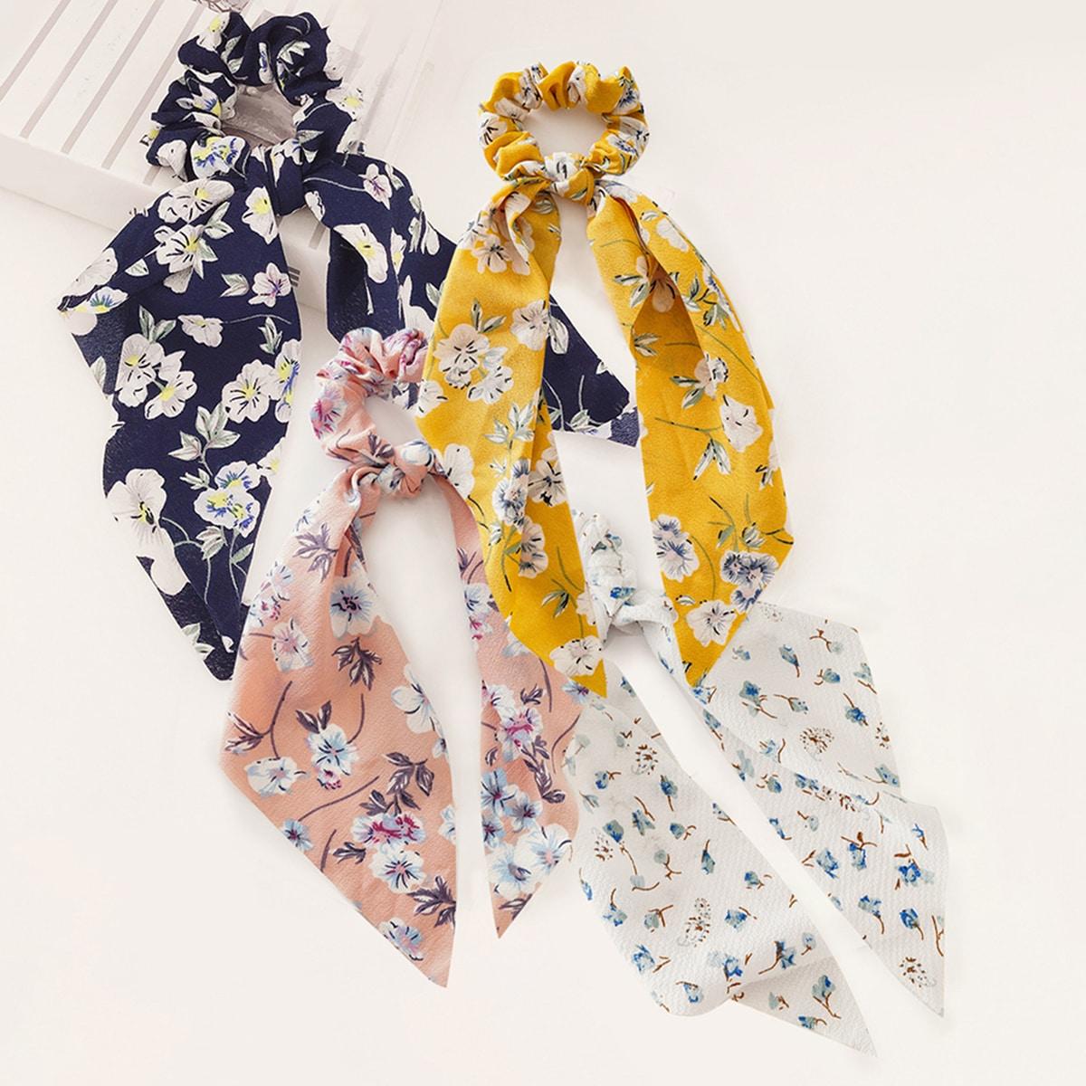 4pcs Girls Flower Pattern Scrunchie Scarf