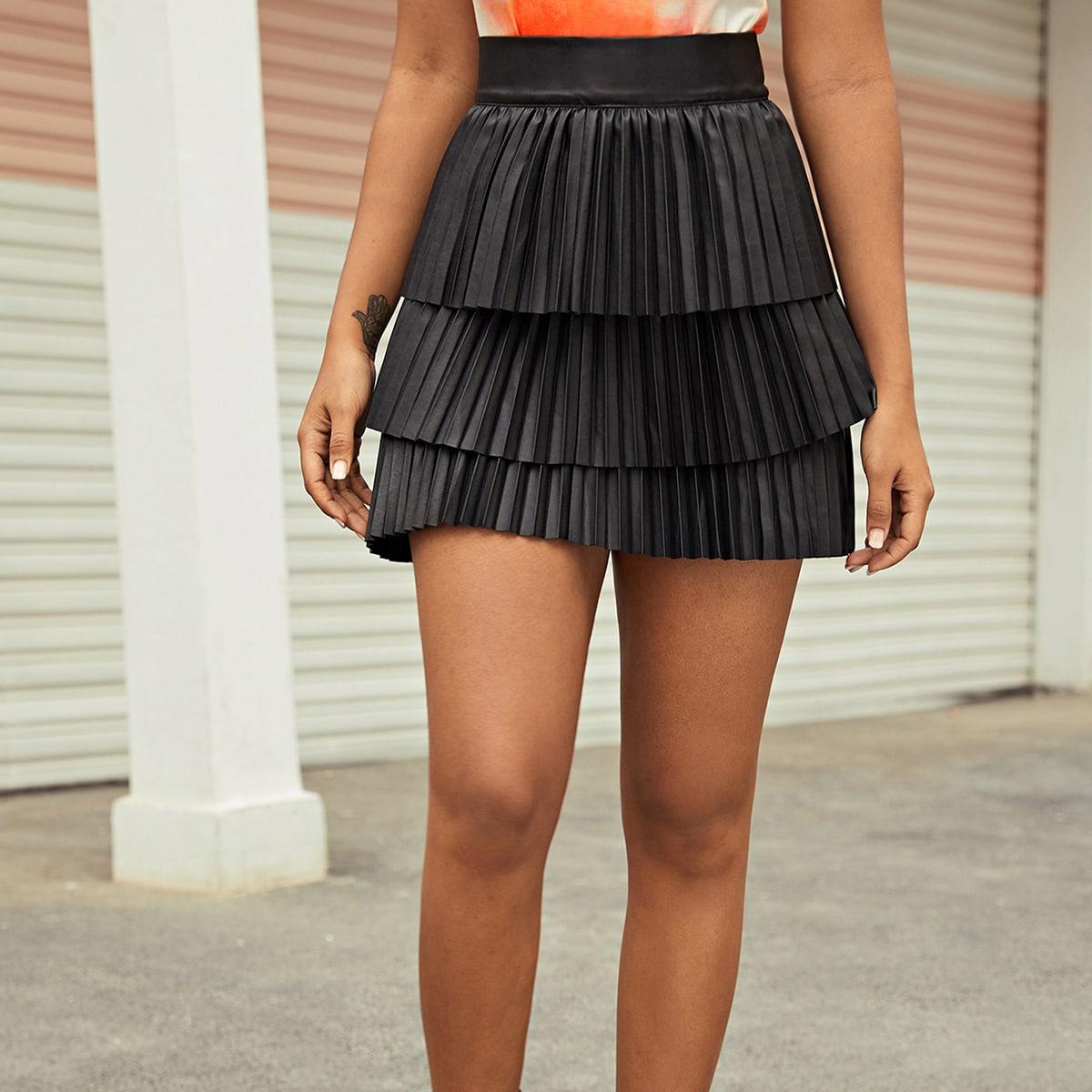 Многослойная плиссированная юбка из искусственной кожи с широкой талией