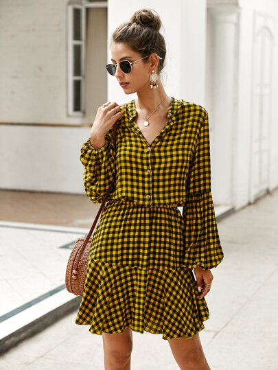 Plaid Lantern Sleeve Ruffle Hem Dress