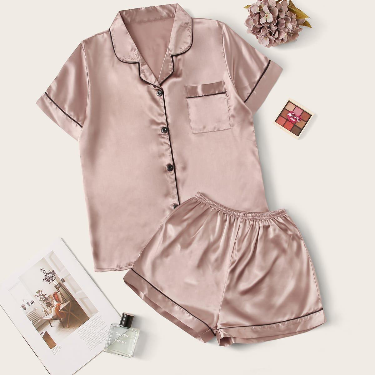 Контрастная атласная пижама