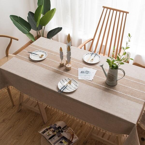 Plain Fringed Hem Tablecloth, Khaki