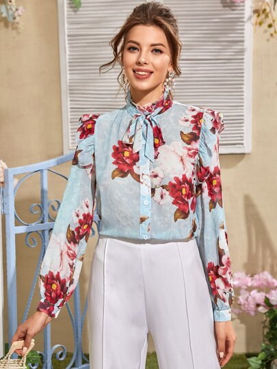 Frill Neck Tie Front Floral Blouse