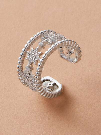 1pc Rhinestone Engraved Star Decor Cuff Ring