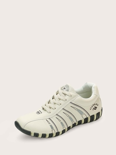 Geometric Graphic Lace-up Front Sneakers