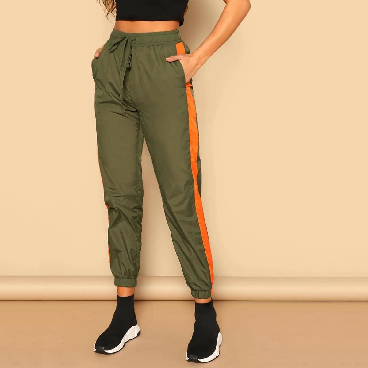 Двухцветные брюки с кулиской