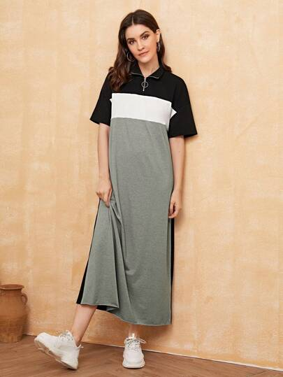 O-ring Zip Front Heather Grey Panel Colorblock Dress