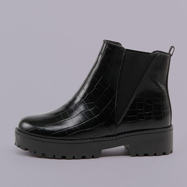 Heavy Lug Sole Side Gore Croc Chelsea Boots, Black