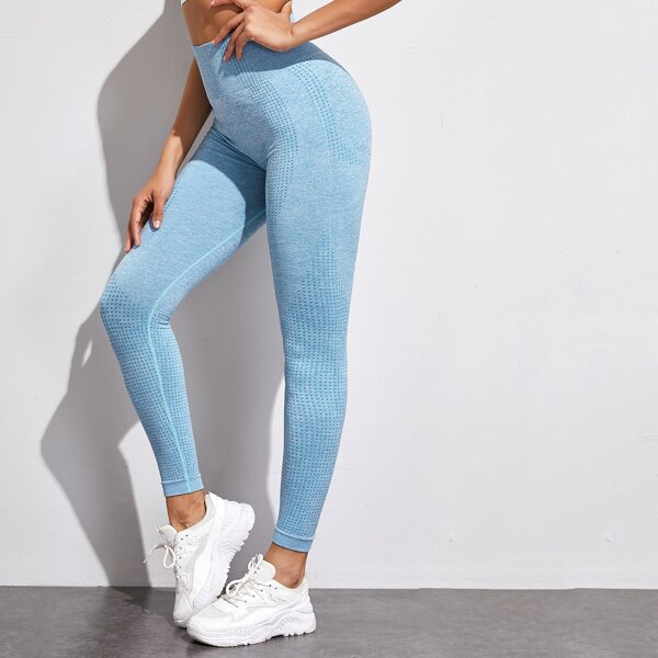 Wide Waistband Solid Sports Leggings, Blue