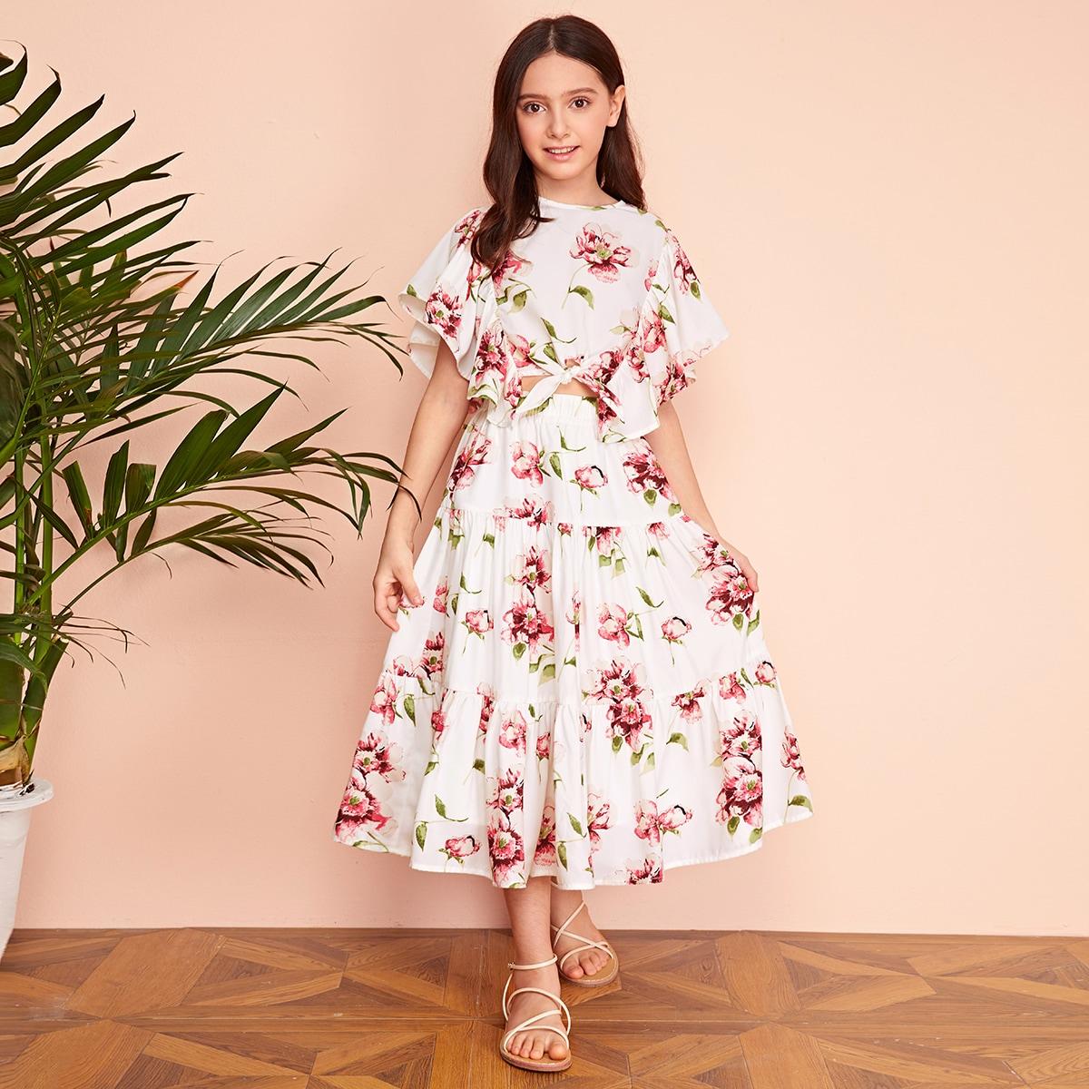 Цветочная юбка и топ с узлом, оборками для девочек
