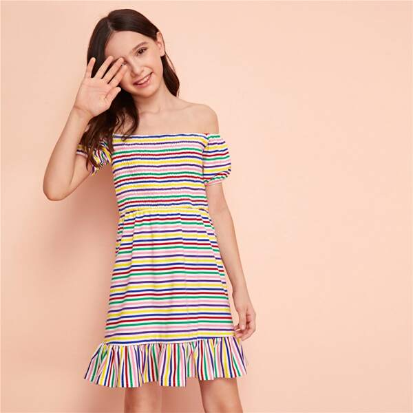 Girls Off Shoulder Shirred Bodice Rainbow Striped Dress, Multicolor