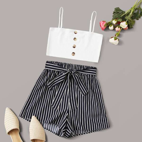 Button Detail Rib-knit Cami Crop Top & Striped Belted Shorts Set, Multicolor