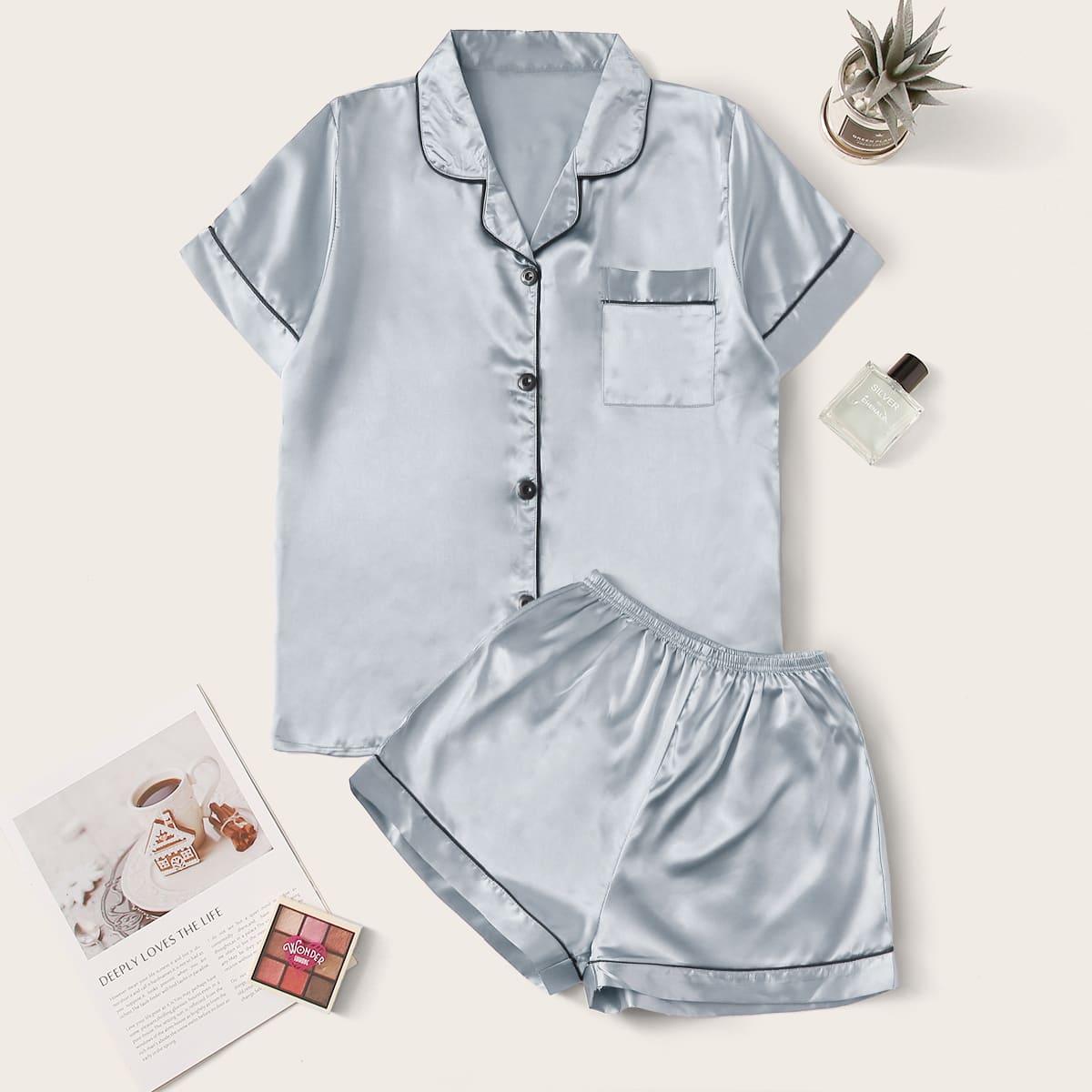 Контрастная атласная пижама с карманом