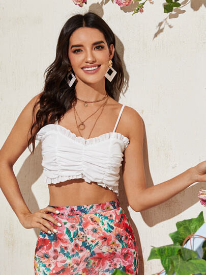 Frill Ruched Crop Cami Top