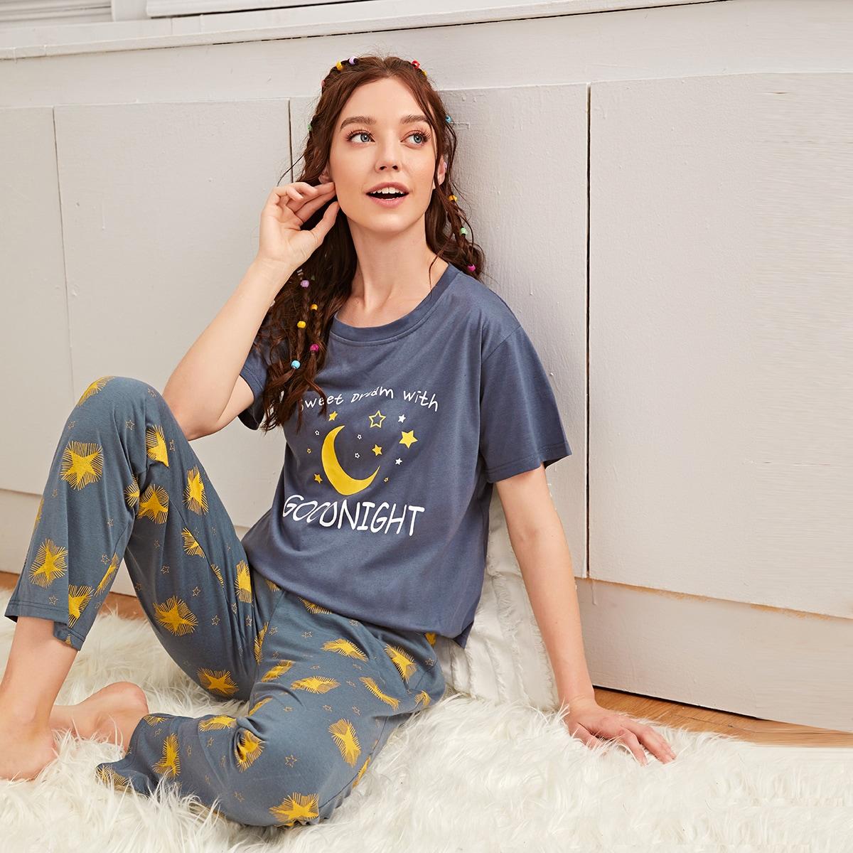 Schlafanzug Set mit Mond & Stern Muster