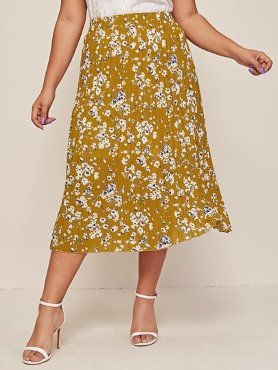 Plus Floral Print Pleated Chiffon Skirt
