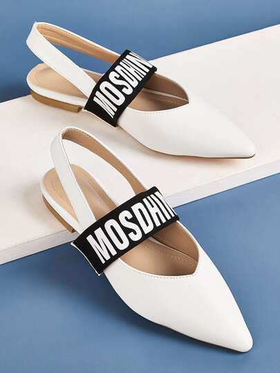 Point Toe Letter Graphic Slingback Flats