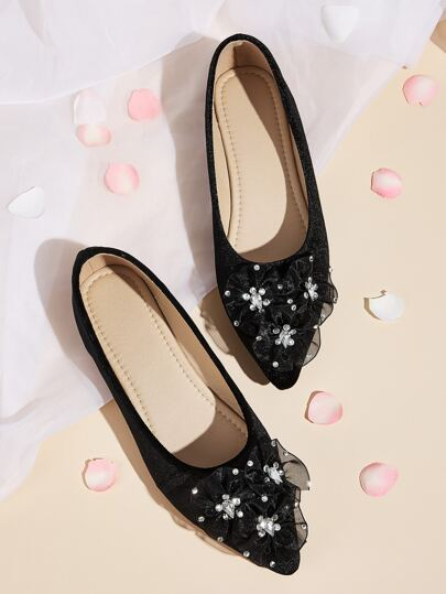 Rhinestone Decor Point Toe Flats