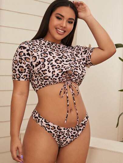 Plus Leopard Lace Up Front Short Sleeve Bikini Swimsuit