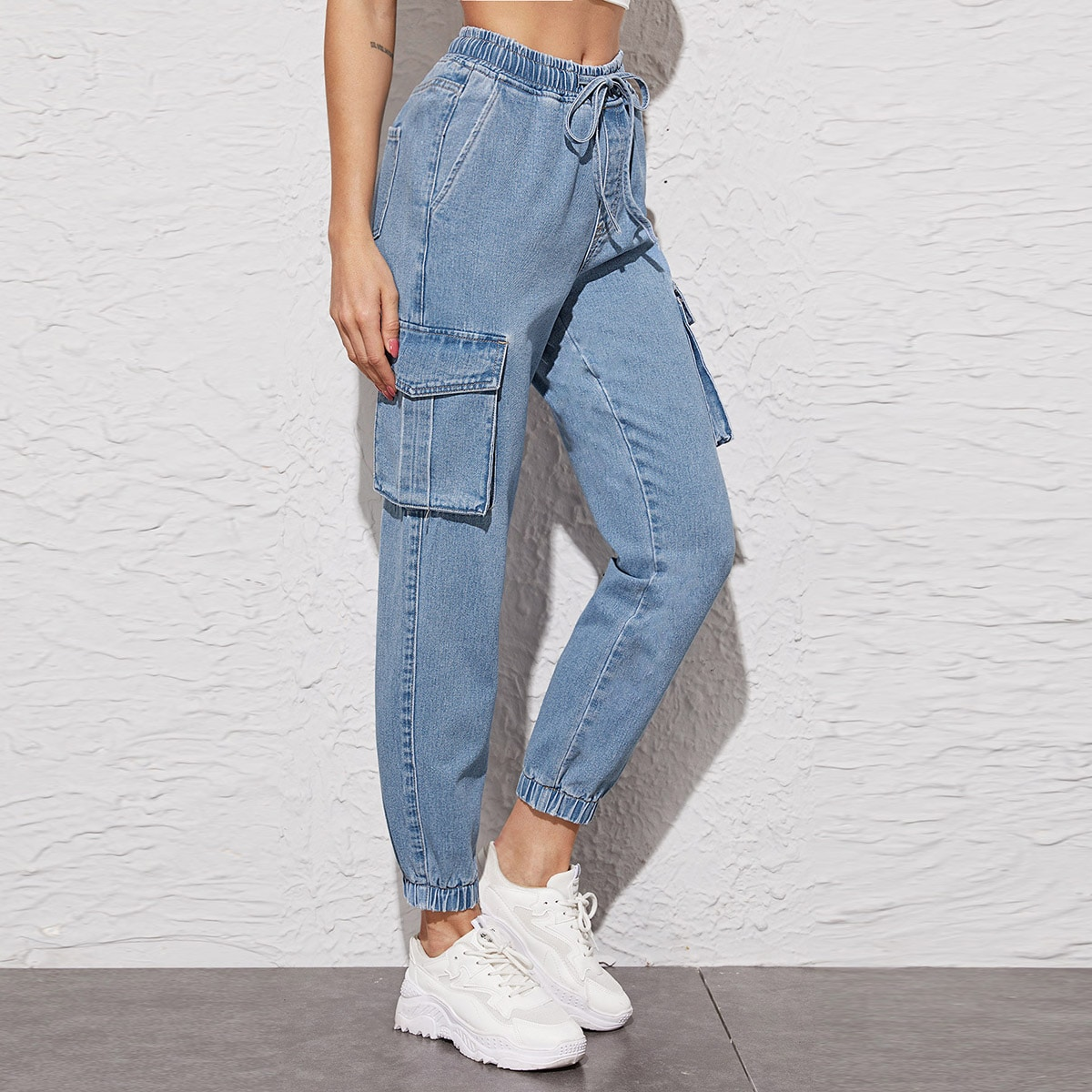 High Waisted Drawstring Waist Cargo Jeans