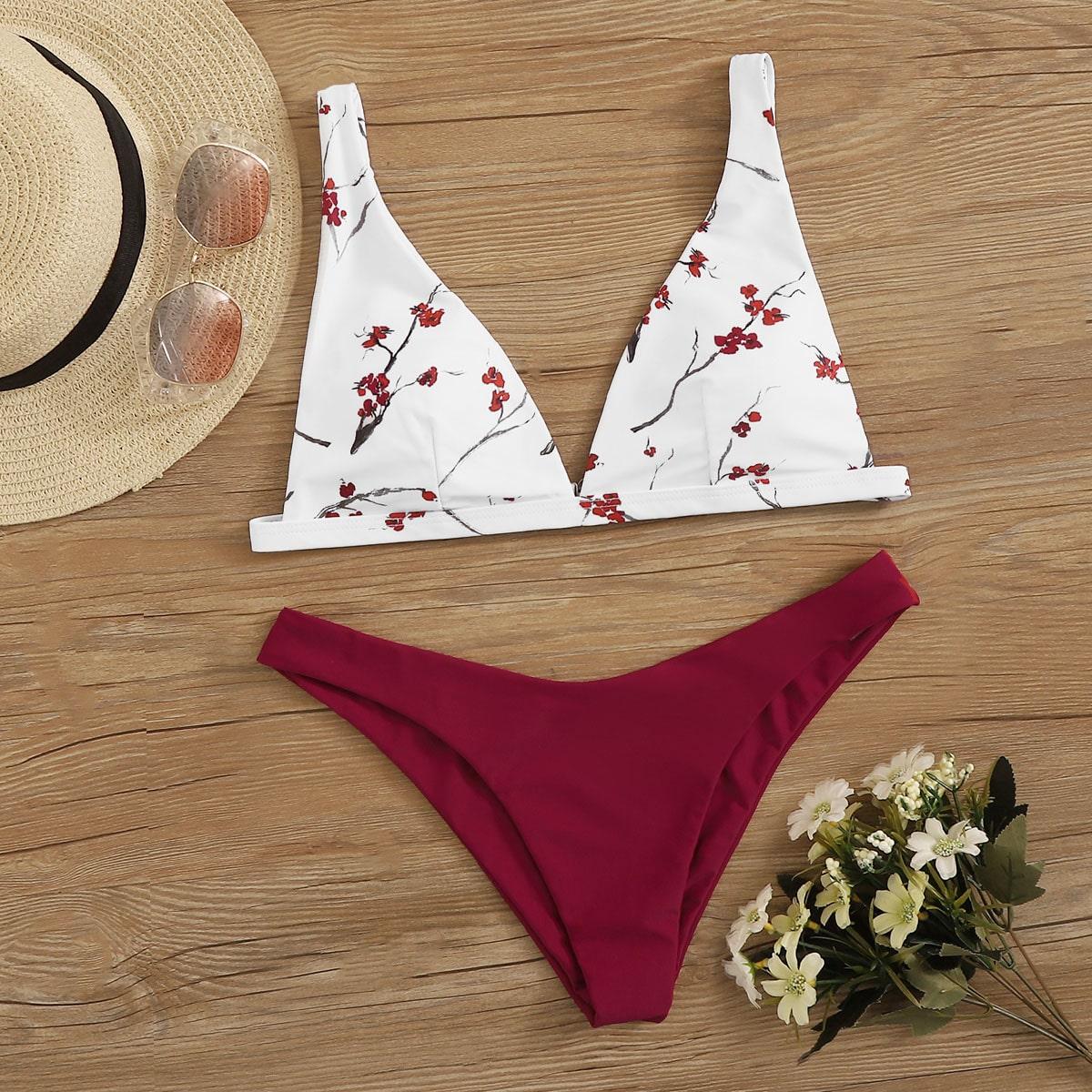 Floral Random Print Triangel Bikini Set