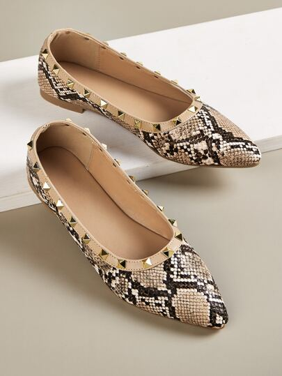 Snakeskin Print Spiked Decor Flats