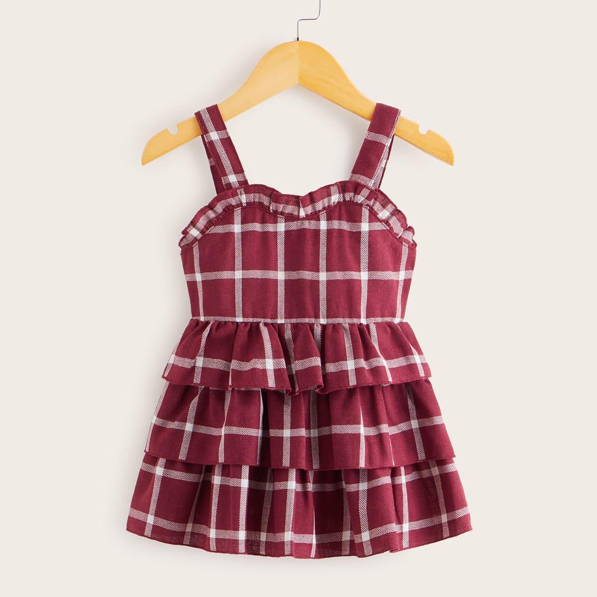 Платье на бретелях в клетку с оборками для девочек от SHEIN