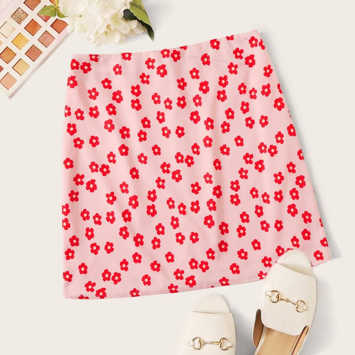 Floral Print Zippered Mini Skirt