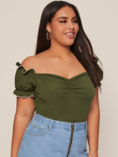Plus Off Shoulder Sweetheart Frilled Tee