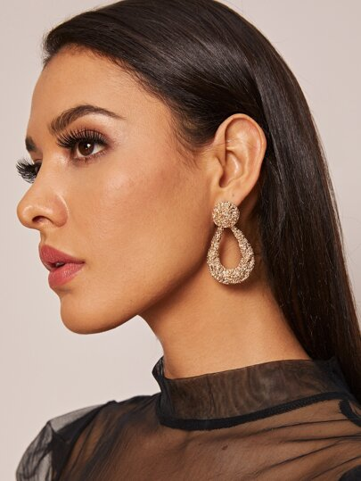 1pair Textured Geometric Drop Earrings