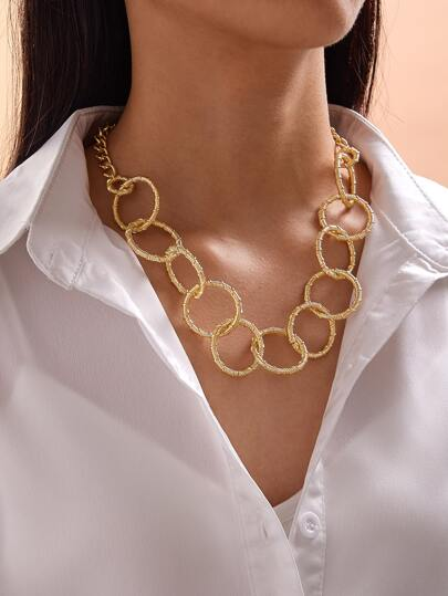 1pc Textured Hoop Chain Necklace
