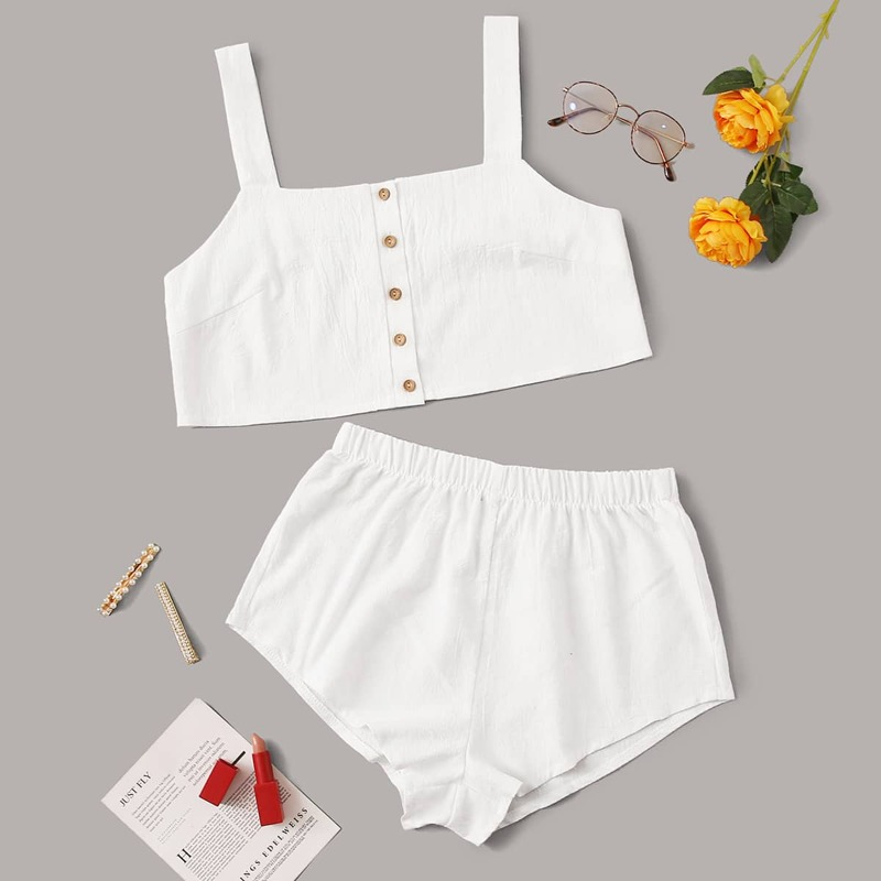 Button Front Top With Shorts PJ Set, White