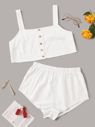 Button Front Top With Shorts PJ Set