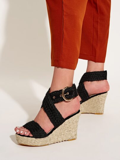 Buckle Cross Strap Espadrille Wedges