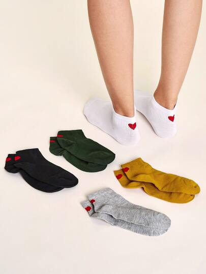5pairs Solid Heart Pattern Socks