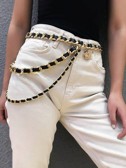 Coin Charm Layered Chain Belt