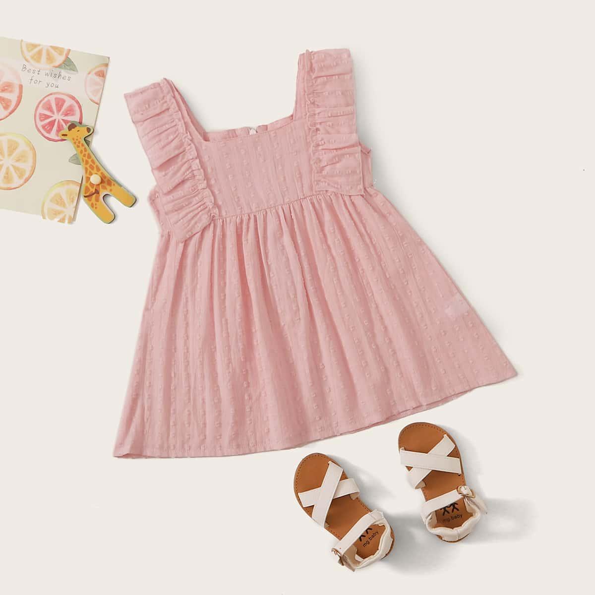 Платье с оборками в горошек для девочек от SHEIN