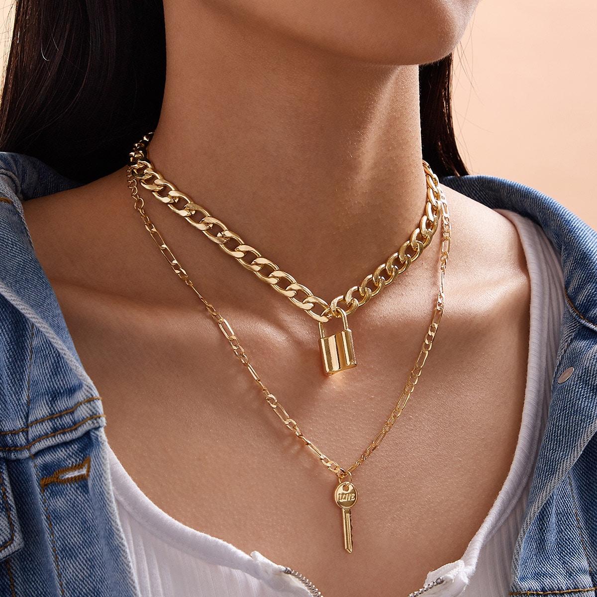 2pcs Lock & Key Charm Chain Necklace