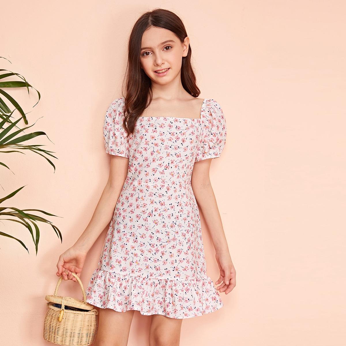 Mädchen Kleid mit Puffärmeln, Raffungsaum und Blümchen Muster