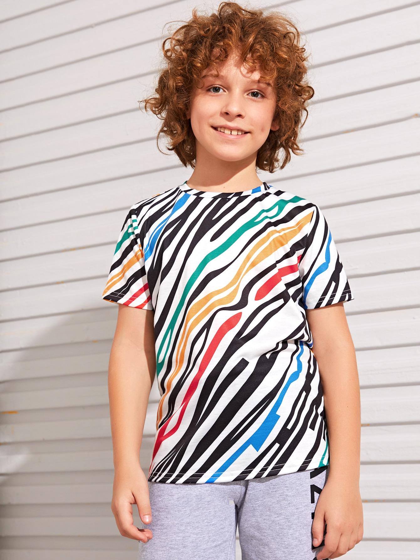 SHEIN Футболка с принтом для мальчиковsktee07191230346