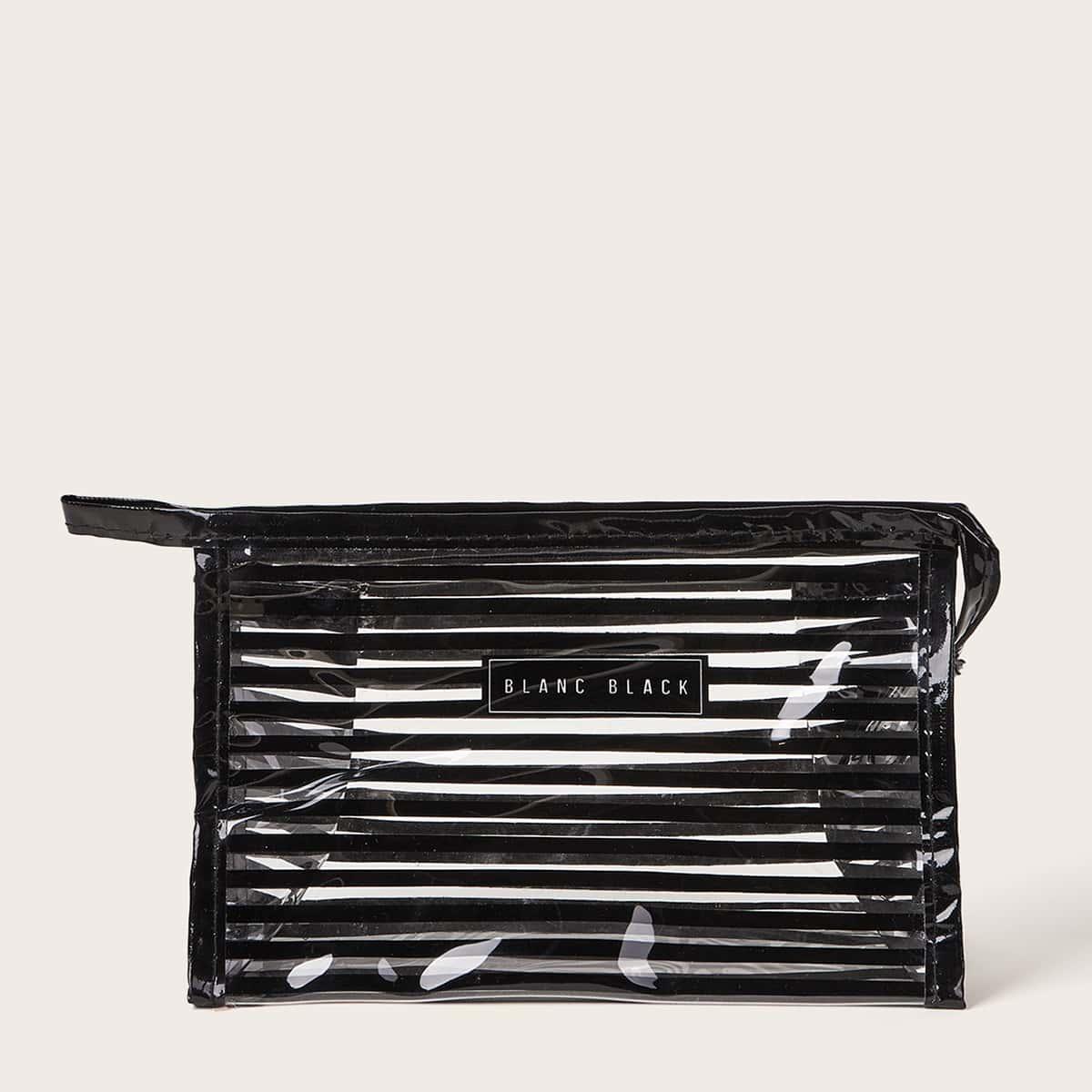 Прозрачная сумка для макияжа с полосатым узором