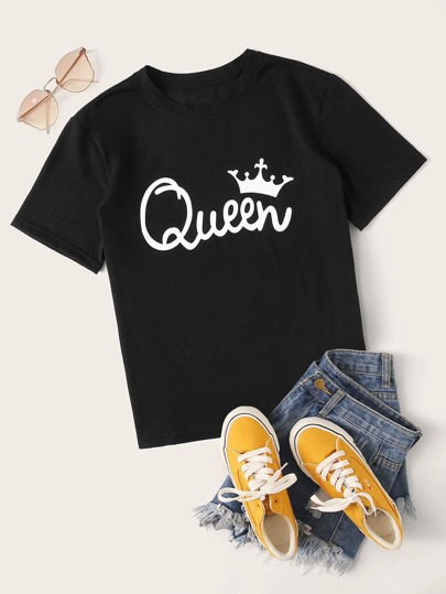 Letter And Crown Print Tee
